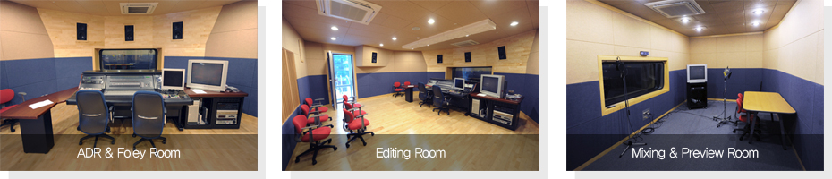 ADR & Foley Room, Editing Room, Mixing & Preview Room